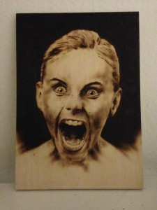 Tattoo Mini Artwork, skriget, scream, wood burn