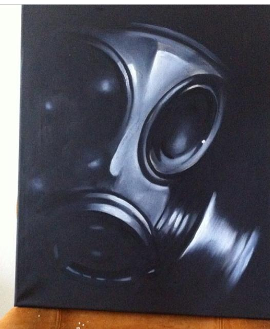 Tattoo Mini Artwork, gas , mask , gasmask, akryl,webshop, Webshoppen